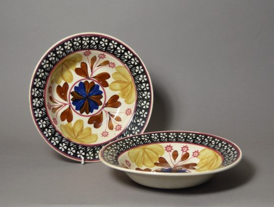 Pair of hand painted & sponge decorated bowls