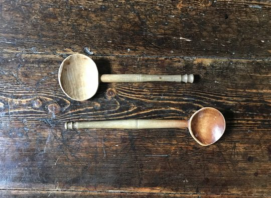 "Two Welsh sycamore ""cawl"" spoons"