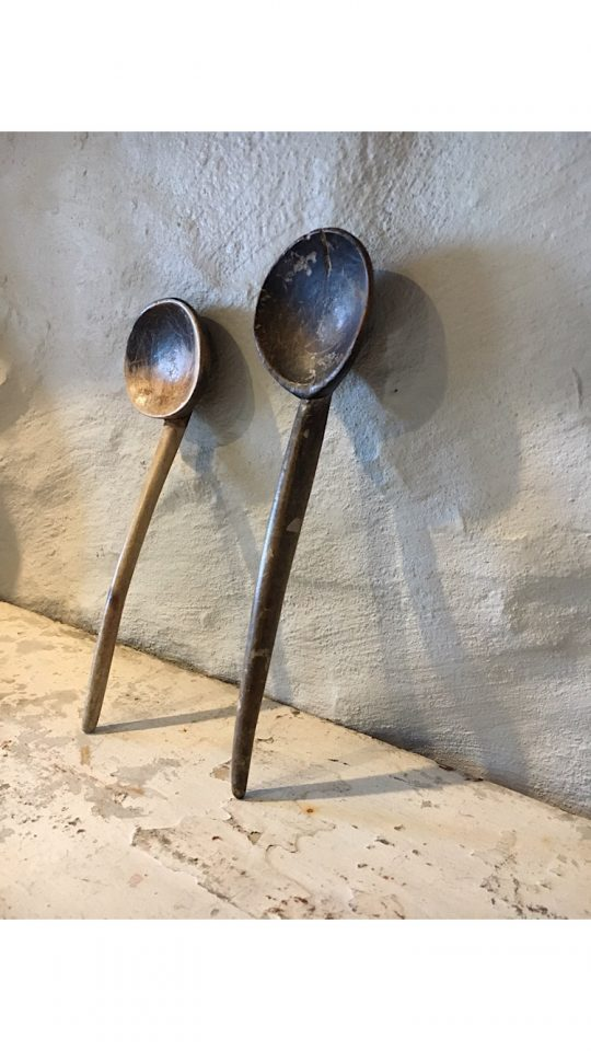 Two 19th Century Welsh sycamore cawl spoons