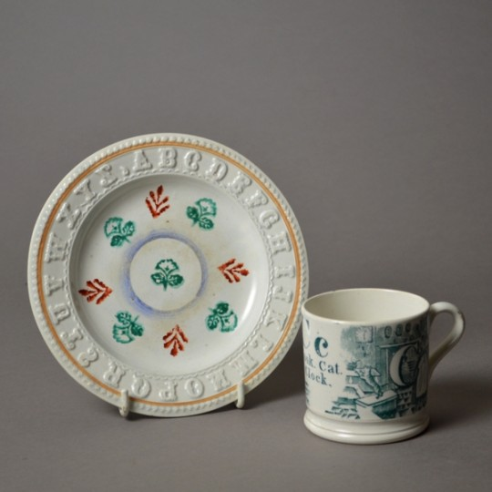 Spongeware childs plate & nursery mug sold