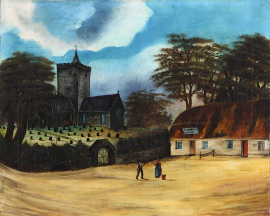 The Church & Black Lion at Llanbadarn Fawr by Alfred Worthington.