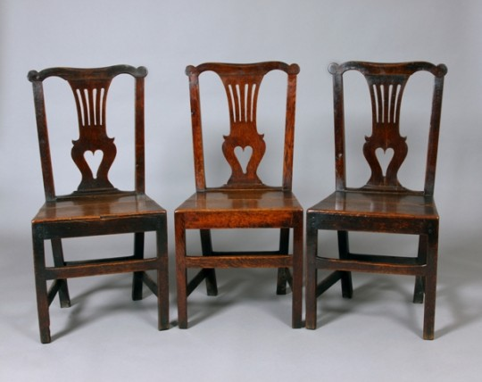 Set of three Welsh oak chairs Sold