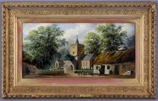 The Church & Black Lion at Llanbadarn Fawr, Nr Aberystwyth by Alfred Worthington Sold