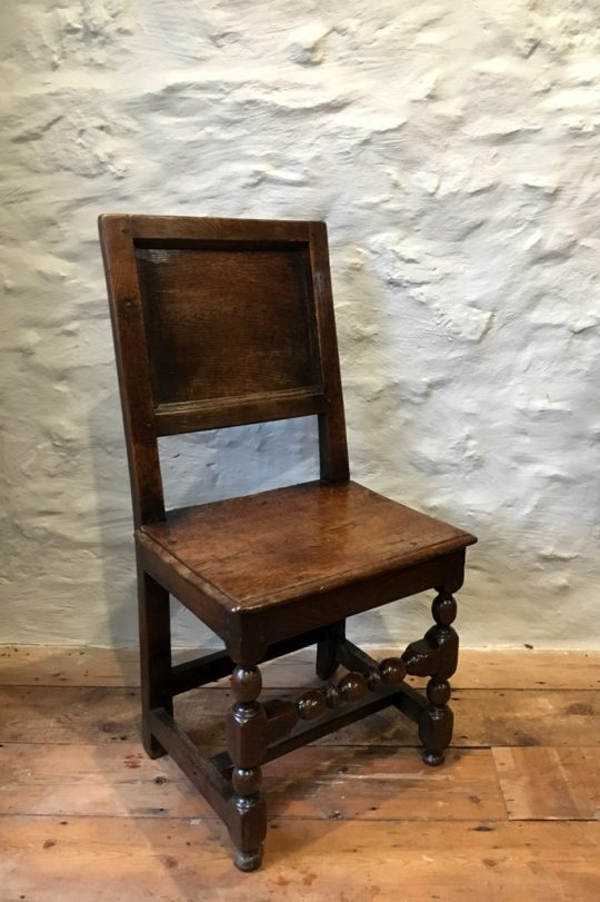 17th century Welsh oak back stool Sold