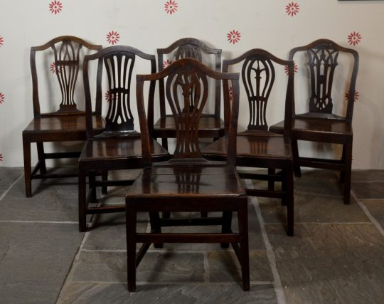 Set of six Carmarthenshire oak chairs