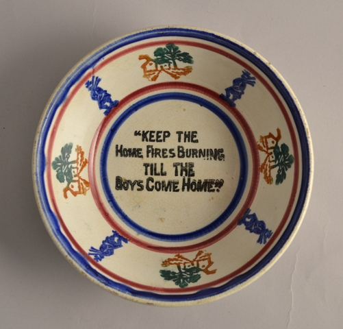 "Scottish spongeware bowl ""keep the home fire burning"" Sold"