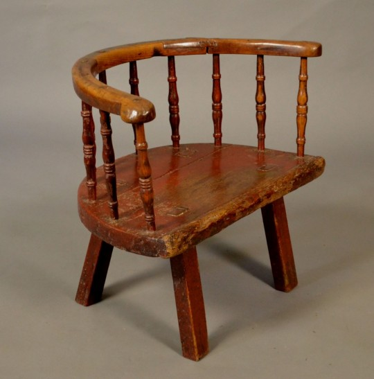 19th century ash and elm stick chair with original painted finish sold