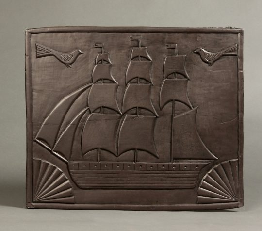 Carved Welsh slate panel